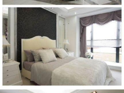 现代间欧风格卧室客厅紫色窗帘图片大全