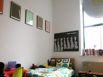 中式风格儿童房白色照片墙效果图