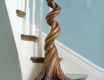 居家美式复式楼客厅咖啡色实木楼梯扶手装修设计