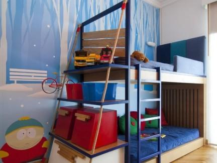 地中海蓝色风格儿童房配上下床装修效果图