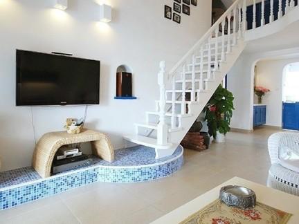 地中海风格490平米别墅客厅楼梯特效