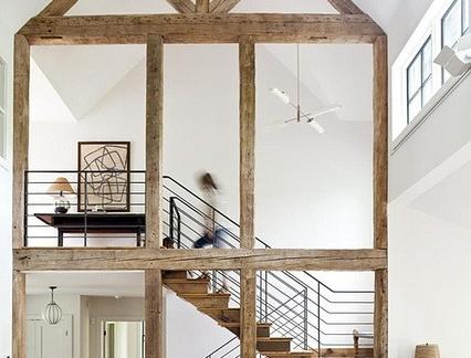 现代简约风格客厅配原木色楼梯装修效果图