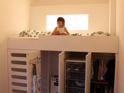 创意设计风格儿童房白色衣柜上下床装修设计图