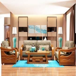 华日 家居金檀色组合沙发 实木布艺沙发组合 中式家具 1+2+3组合