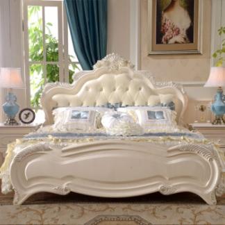 合家家具 实木床 欧式床 1.8米真皮双人床婚床 卧室床 9030# 9003床(仅限描银) 1500*2000