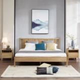 作木坊 床 实木床 双人床1.8米床中式白蜡木家具卧室家具组合 A1603Y 单床 1.8*2(m)清雅原木色图片