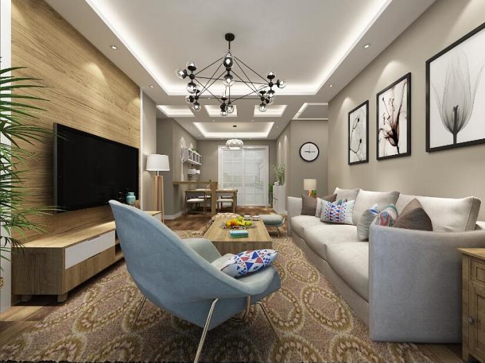 现代简约-70平米一居室-装修样板间
