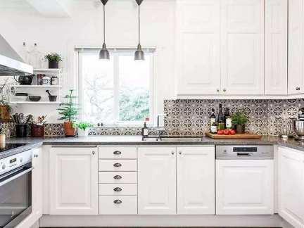 北欧风格清新简洁厨房装修实景图