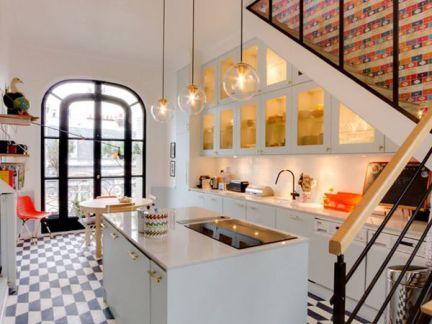 精致时尚混搭风格厨房装修实景图