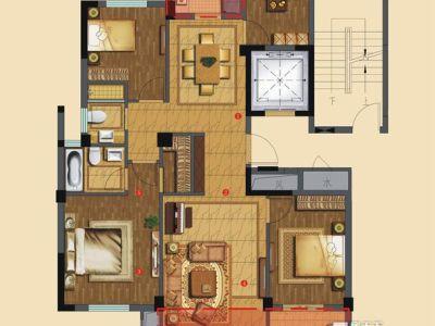中式古典-127平米四居室装修样板间