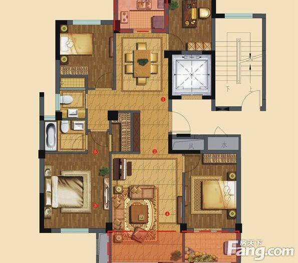 中式古典-127平米四居室-装修样板间