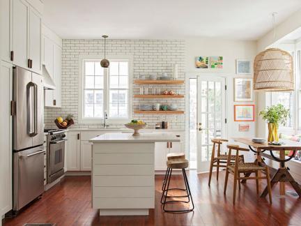 优雅时尚北欧风格白色厨房装修图片