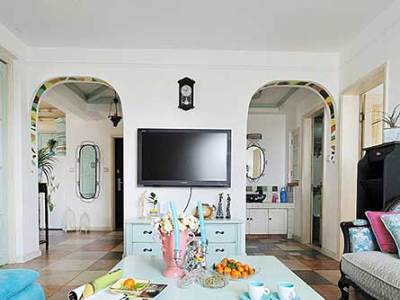 地中海风格-75.49平米二居室装修样板间