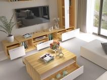 兔宝宝组合式电视柜现代简约可伸缩客厅电视柜创意小户型客厅家具图片