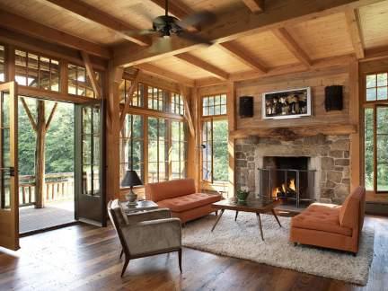 粗犷美式风格朴实温暖木色客厅实景图