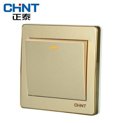 正泰电工墙壁开关插座面板NEW6D香槟金色 一开单控开关面板