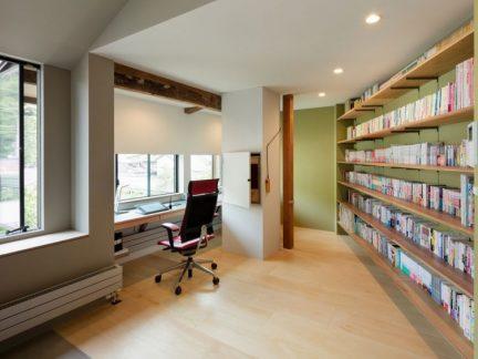 大气清新现代风格书房书架装修效果图