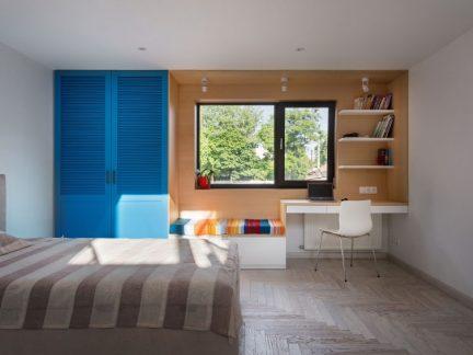 简约风格温馨卧室蓝色时尚衣柜效果图