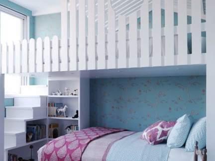简约风格可爱清新蓝色儿童房装修图片