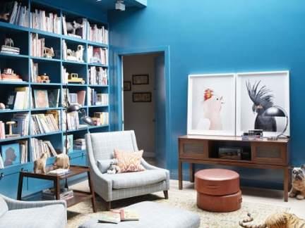 现代风格休闲静雅蓝色书房装修实景图