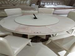 天然大理石餐桌圆桌圆形欧式实木大理石圆餐桌椅组合6人饭桌
