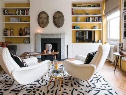 时尚现代风格温暖黄色客厅装修图片