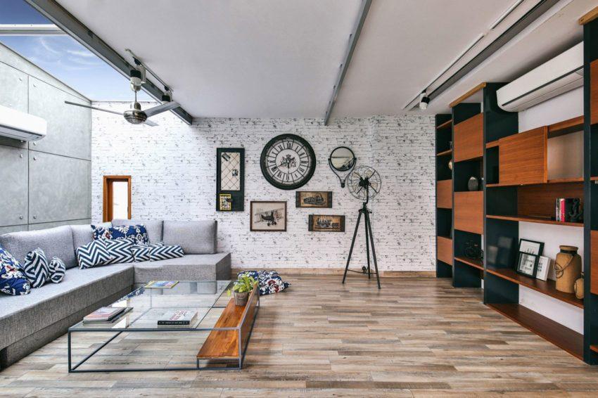 怀旧感工业风格客厅背景墙装修效果图