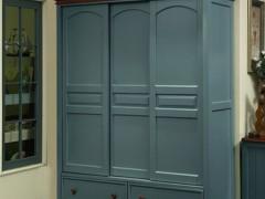 式移门衣柜推拉门滑门实木乡村家具田园卧室做旧地中海风格衣橱