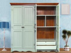 美式乡村实木衣柜田园简约卧室欧式四门地中海大衣柜成都蓝色家具