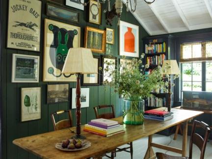 美式风格浪漫文雅书房背景墙装修图片