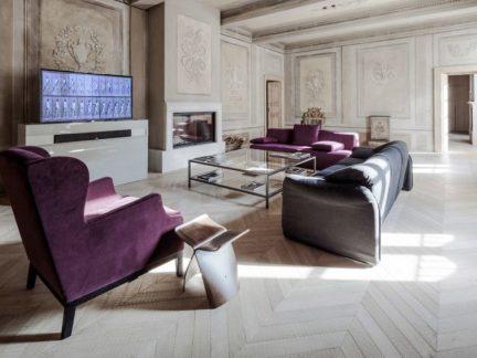简欧风格典雅大气客厅紫色沙发装修图片