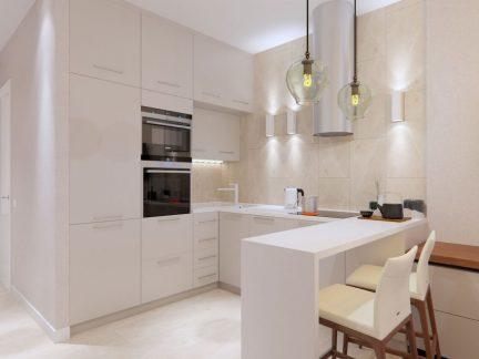 明亮清新简约风格白色厨房装修效果图