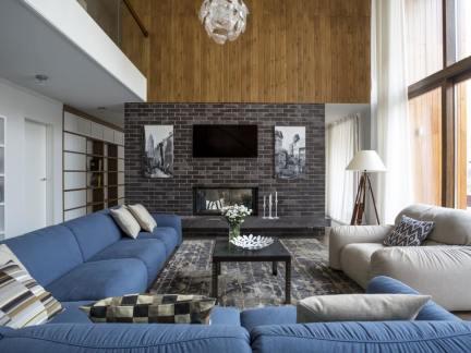 蓝色地中海浪漫别墅客厅装修实景图