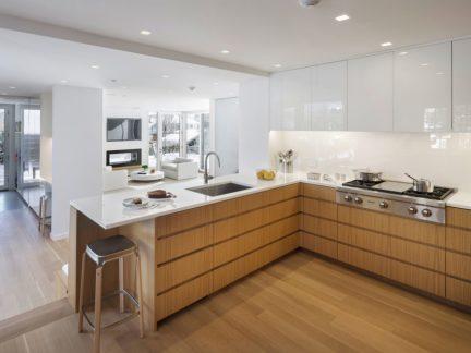 简约风格清爽洁净开放式厨房装修图片