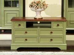 美式乡村实木高电视柜地中海小户型复古卧室储物柜地柜矮柜1.2