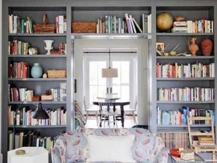简欧风格优雅文艺客厅书架装修设计图