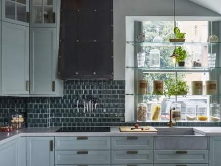 欧式风格优雅蓝色调开放式厨房装修图片