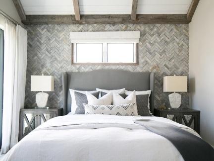 北欧风格清爽灰色系卧室背景墙设计图