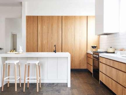 简约风格开放式厨房时尚白色吧台图片