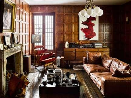美式风格随性粗犷客厅背景墙装修图片