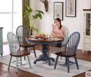 美式乡村实木圆形餐桌餐椅组合家用六人餐厅复古饭桌地中海大圆桌