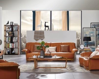 美伦美北欧实木框架头层皮软包茶色四人沙发MYZ-VSF303