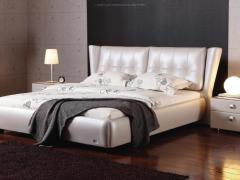 圆方园 真皮床双人床1.8米现代简约主卧床储物软床