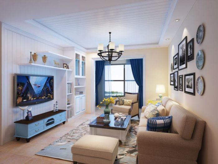 地中海风格-85平米二居室-装修样板间