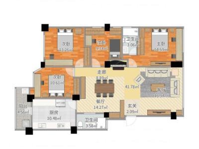 简欧风格-156平米四居室装修样板间