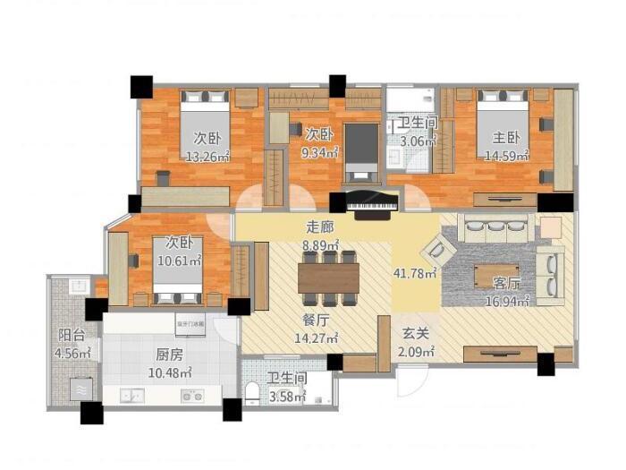 简欧风格-156平米四居室-装修样板间