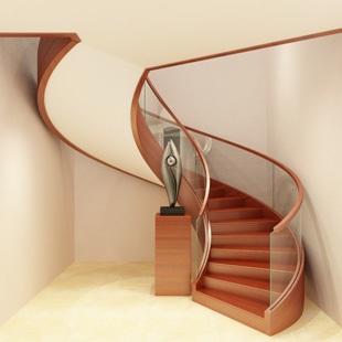 家用旋转玻璃楼梯定制-百姓园楼梯