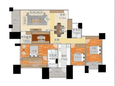 西式古典-169平米三居室装修样板间