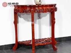檀明宫红木家具刺猬紫檀半月台玄关台靠墙花架