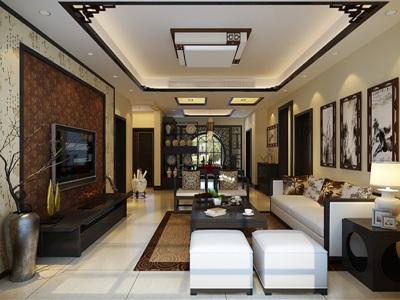 新中式风-136平米三居室装修样板间